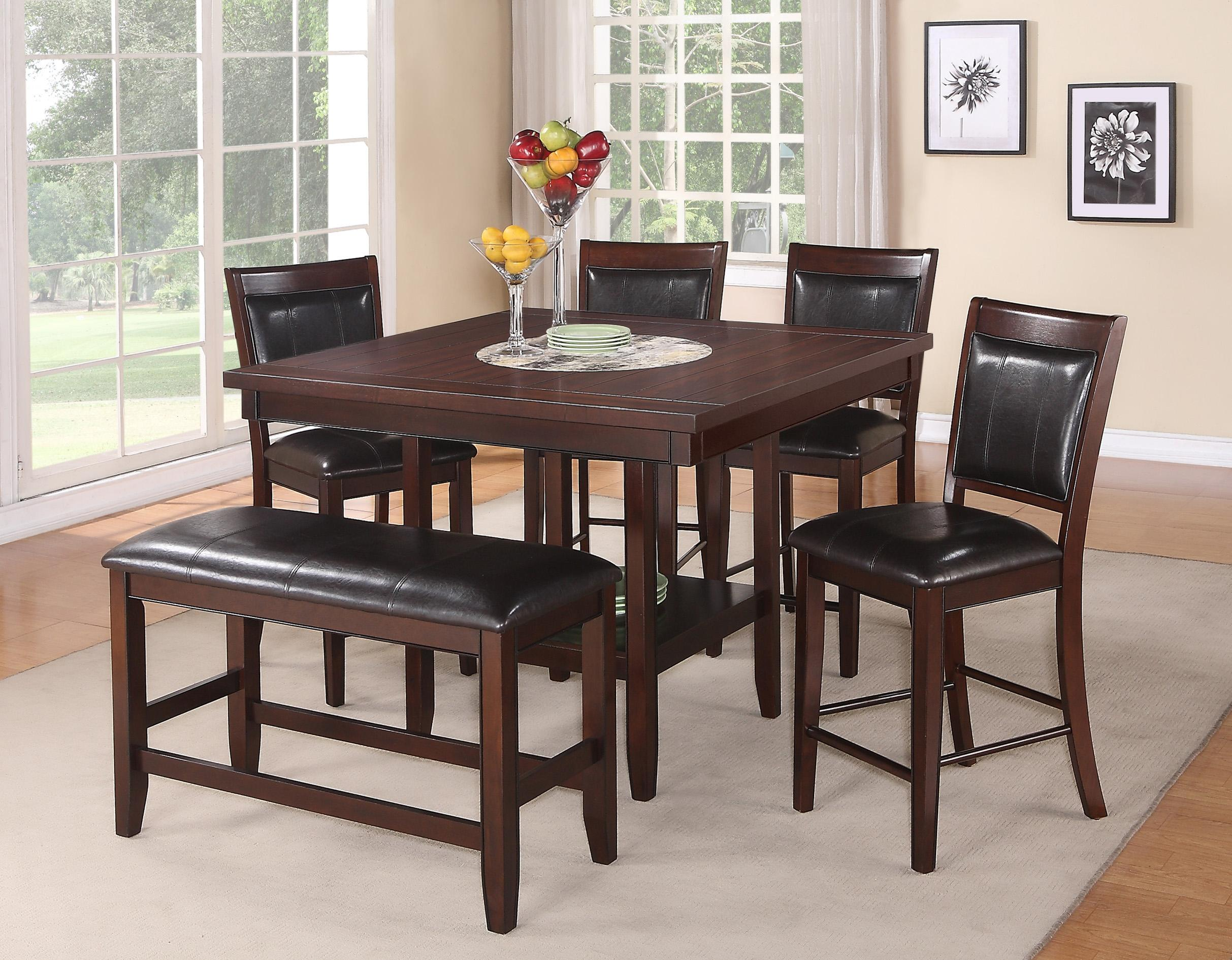 Crown Mark Fulton Counter Height Table With 20 Inch Lazy Susan   Wayside  Furniture   Pub Table
