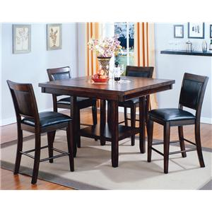 Crown Mark Fulton Counter Height Table with 20-Inch Lazy Susan
