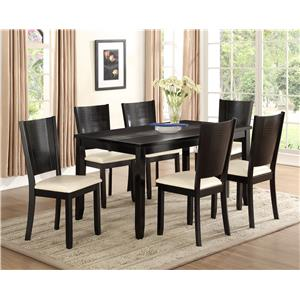 Crown Mark Hanson Rectangular Dining Table with Tapered Block Legs