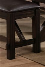 Thick Square Block Legs with Support Braces in a Warm Brown Finish