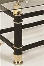 Brass finished Leg Accents with Dark Finish Under Glass Top