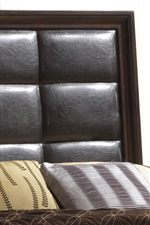Grandly-Scaled Headboard Includes a Unique Leather-Like Back for Comfort & Style
