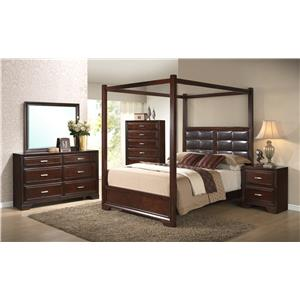 Crown Mark Jacob King Canopy Bed with Upholstered Headboard