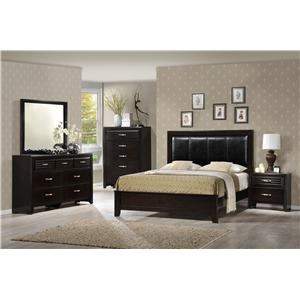 Crown Mark Jocelyn Queen Low Profile Upholstered Bed