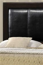 Headboard Features Beautiful Panel Upholstery & Deep Espresso Frame