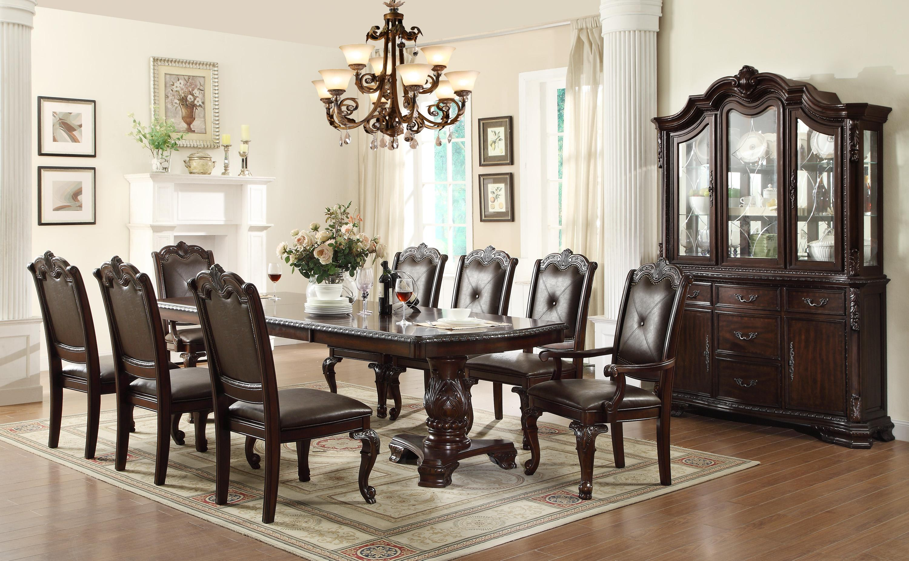 crown mark kiera traditional double pedestal dining table | wayside Black Brown Dining Table