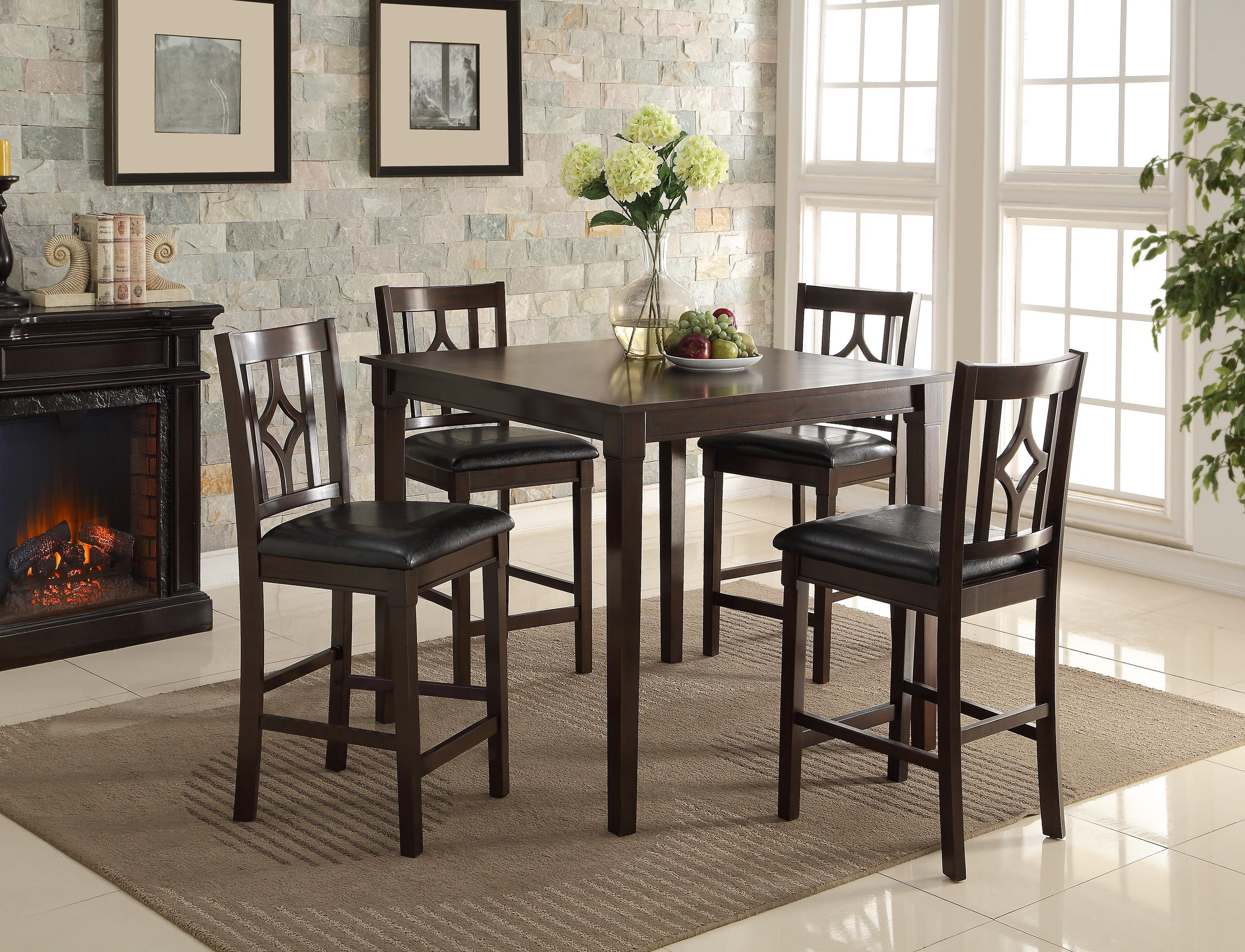 Crown Mark Leon Counter Height Table Set With Four Stools