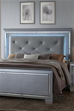 Diamond Tufted Headboard and Beveled Mirror Accents