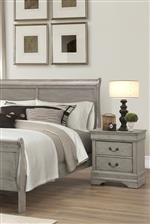 Bed Features Traditional Louis Philip Styled Headboard with Gentle Curves