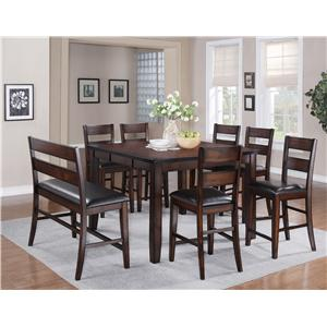 Crown Mark Maldives 8 Piece Counter Height Dining Set with Bench