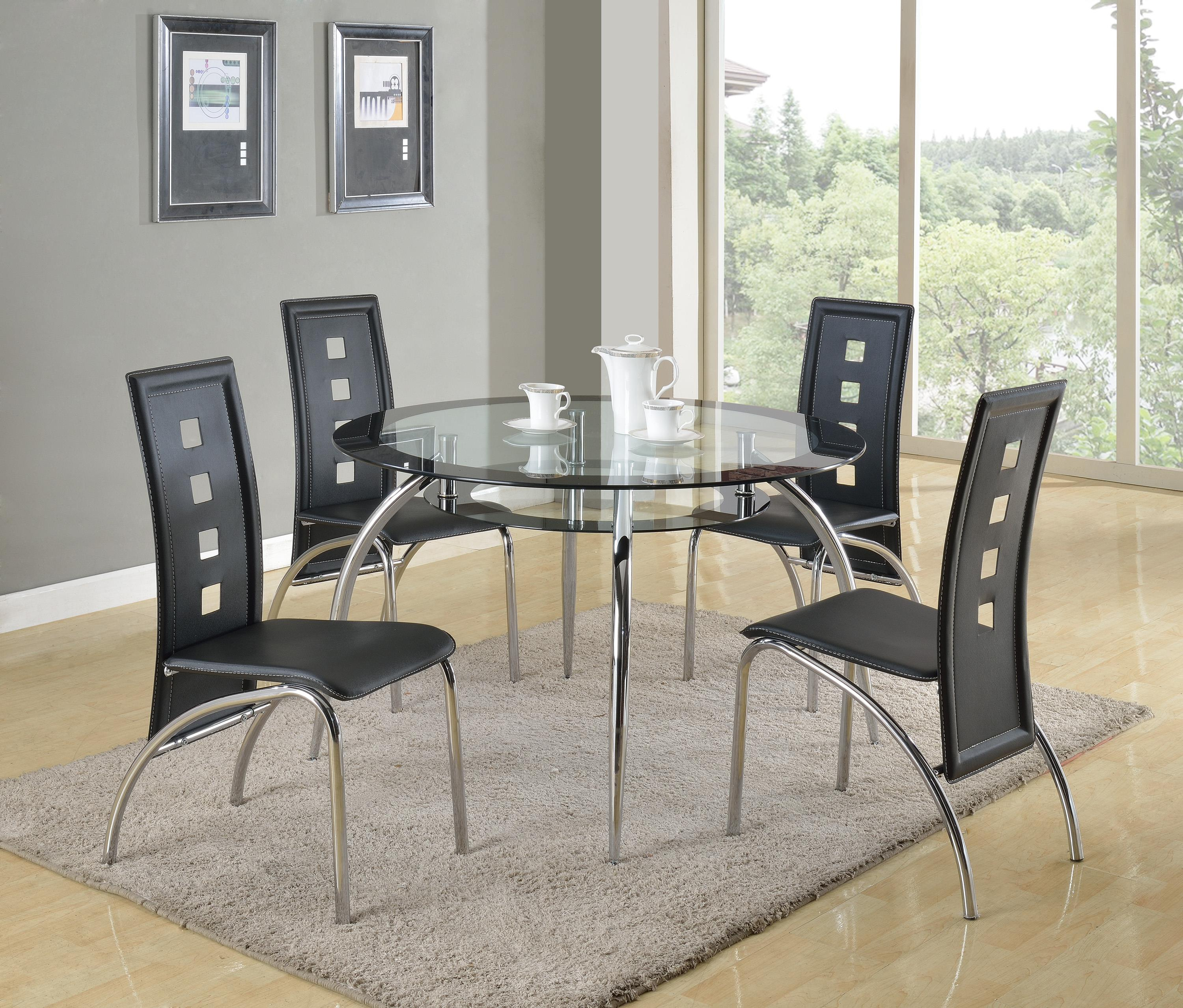 Crown mark mila round glass dining table with suspended platform under table top wayside furniture kitchen tables