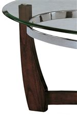 Subtle Curves in a Deep Brown Finish and a Beveled Glass Top Creates an Attractive Contrast
