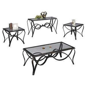 Crown Mark Monarch  Three Pack Cocktail Table Set with Glass Tops