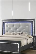 Upholstered Headboard Framed by LED Lights