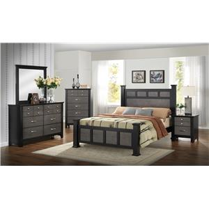 Crown Mark Reagan Transitional Dresser and Mirror Set