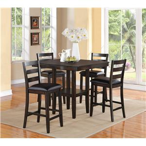 Crown Mark Tahoe 5 Piece Counter Height Table and Chairs Set