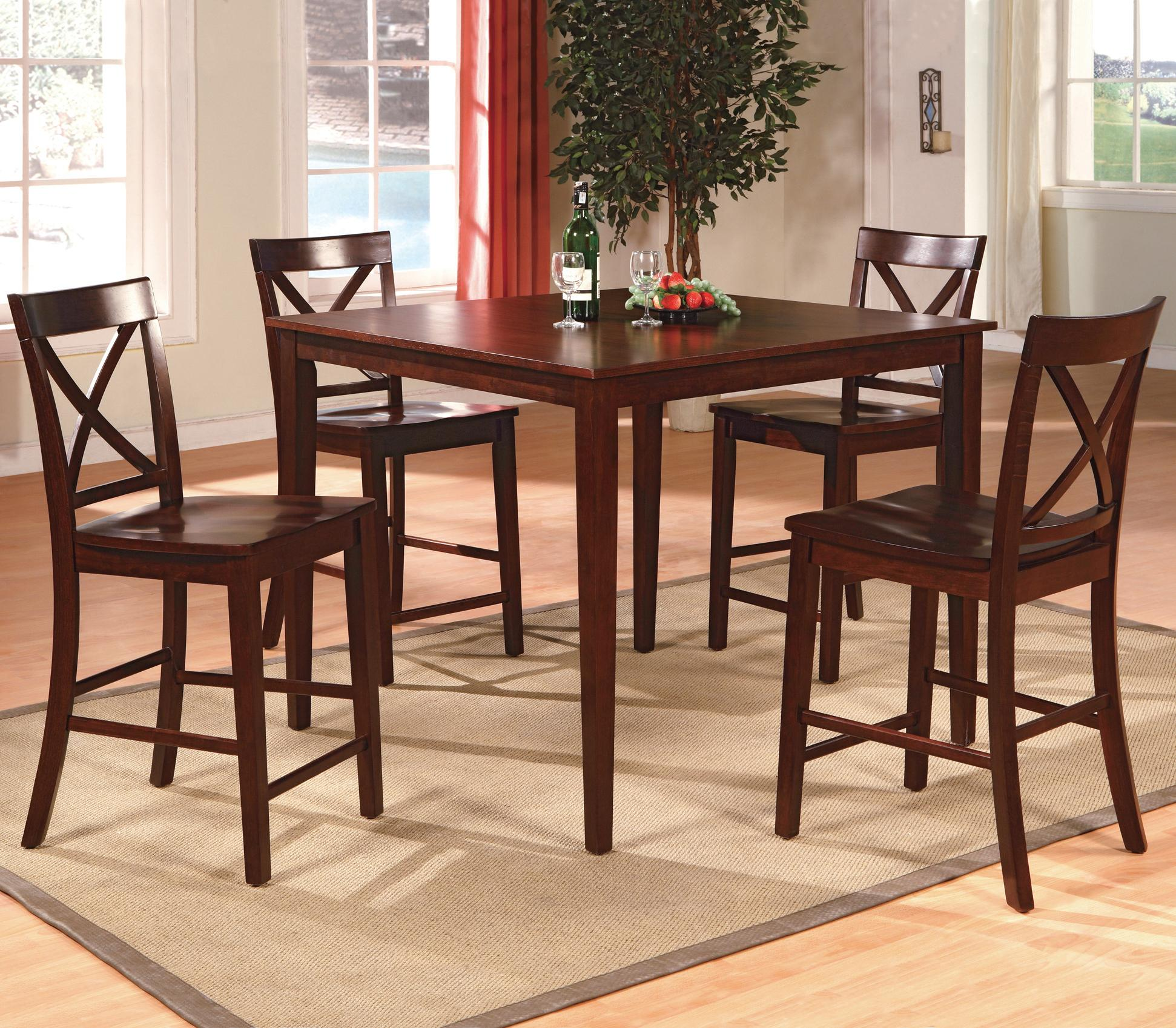 Crown Mark Theodore  Piece Counter Height Table Set With - Espresso kitchen table set