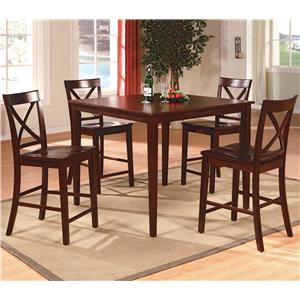 Crown Mark Theodore 5 Piece Counter Height Table Set with 4 Crossback Chairs