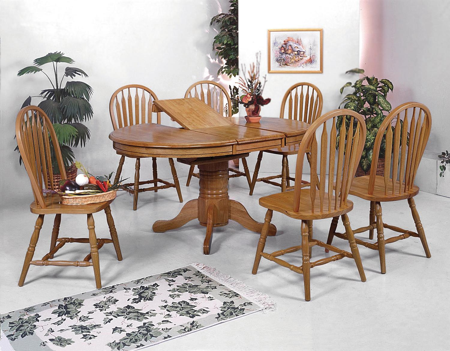 Crown Mark Windsor Solid 7 Piece Rectangular Leg Dining Table And