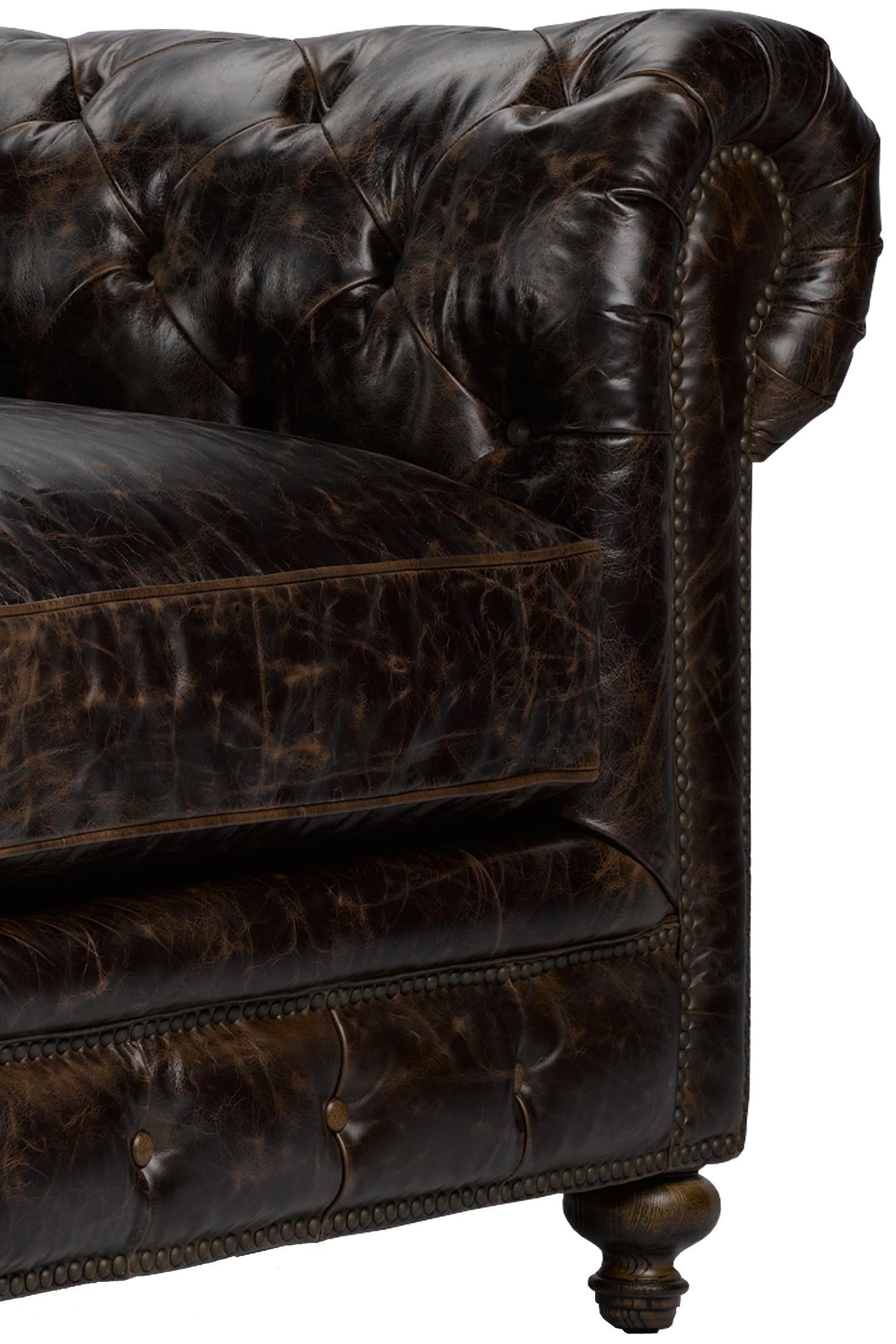 Cigar Club Extra Long Cigar Club Leather Sofa in Classic