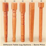 5 Table Leg Options Available