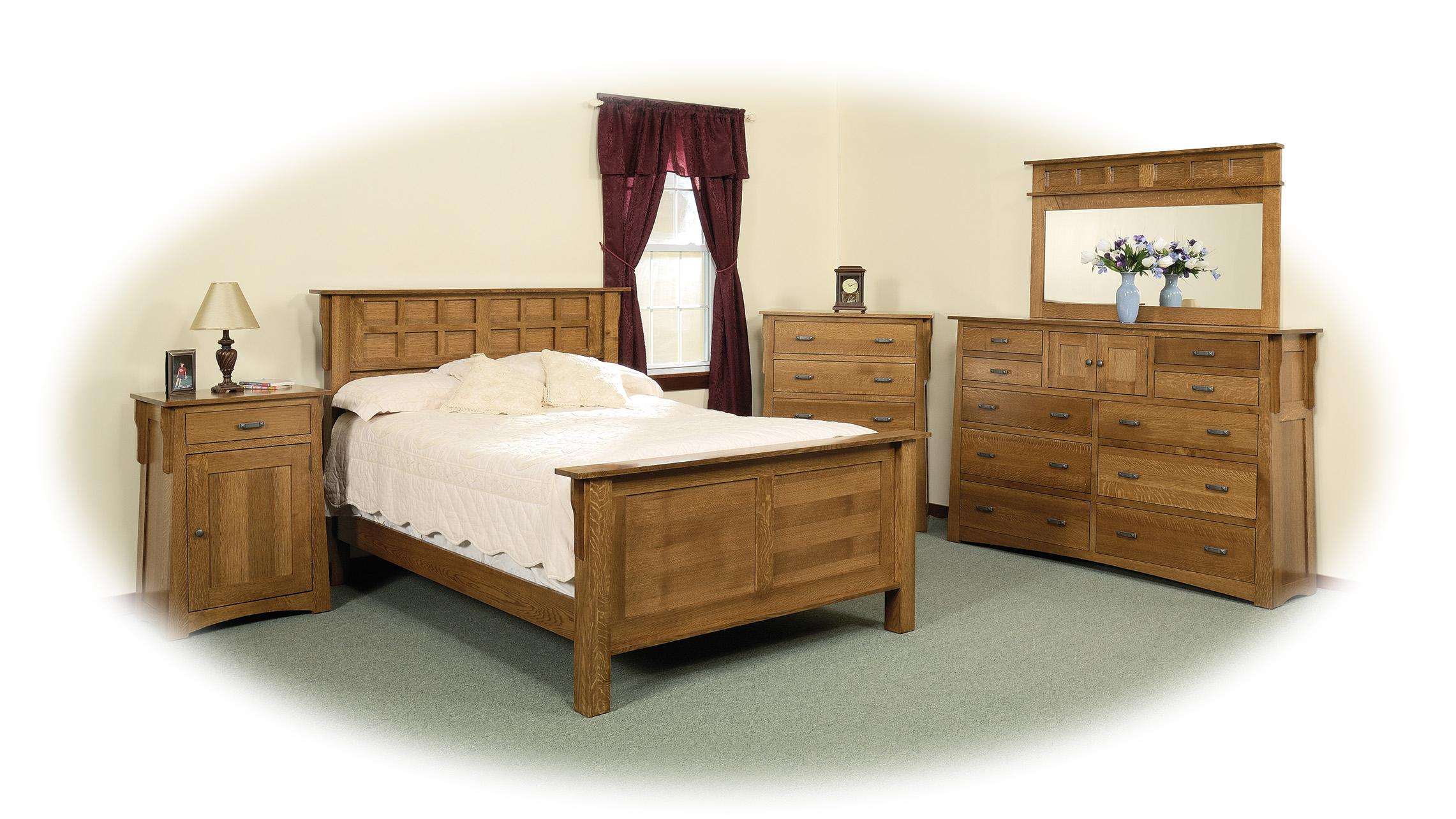 Quarter Sawn Oak Bedroom Furniture Daniels Amish Arts And Crafts Queen Solid Wood Pedestal Bed With
