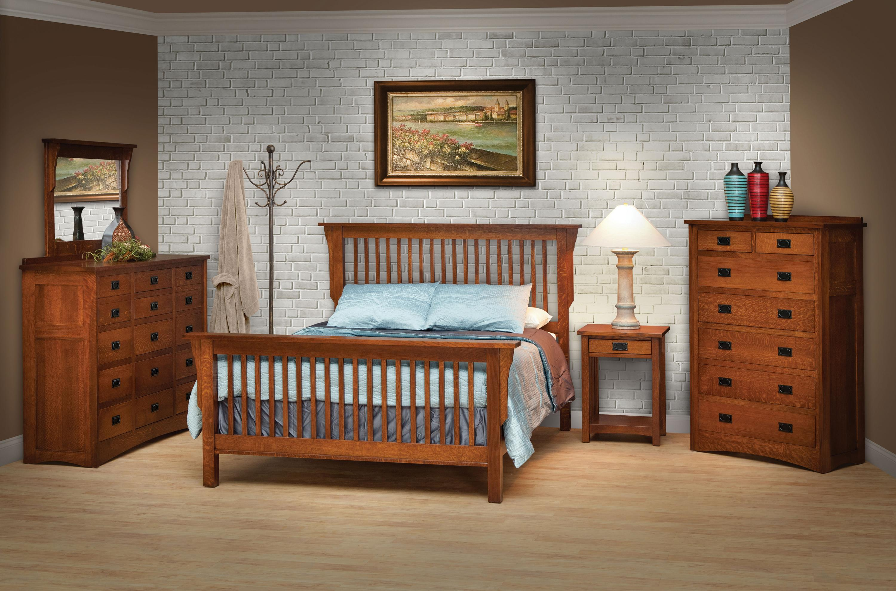 Daniels Amish Mission California King Style Frame Bed With Headboard Footboard Slat Detail