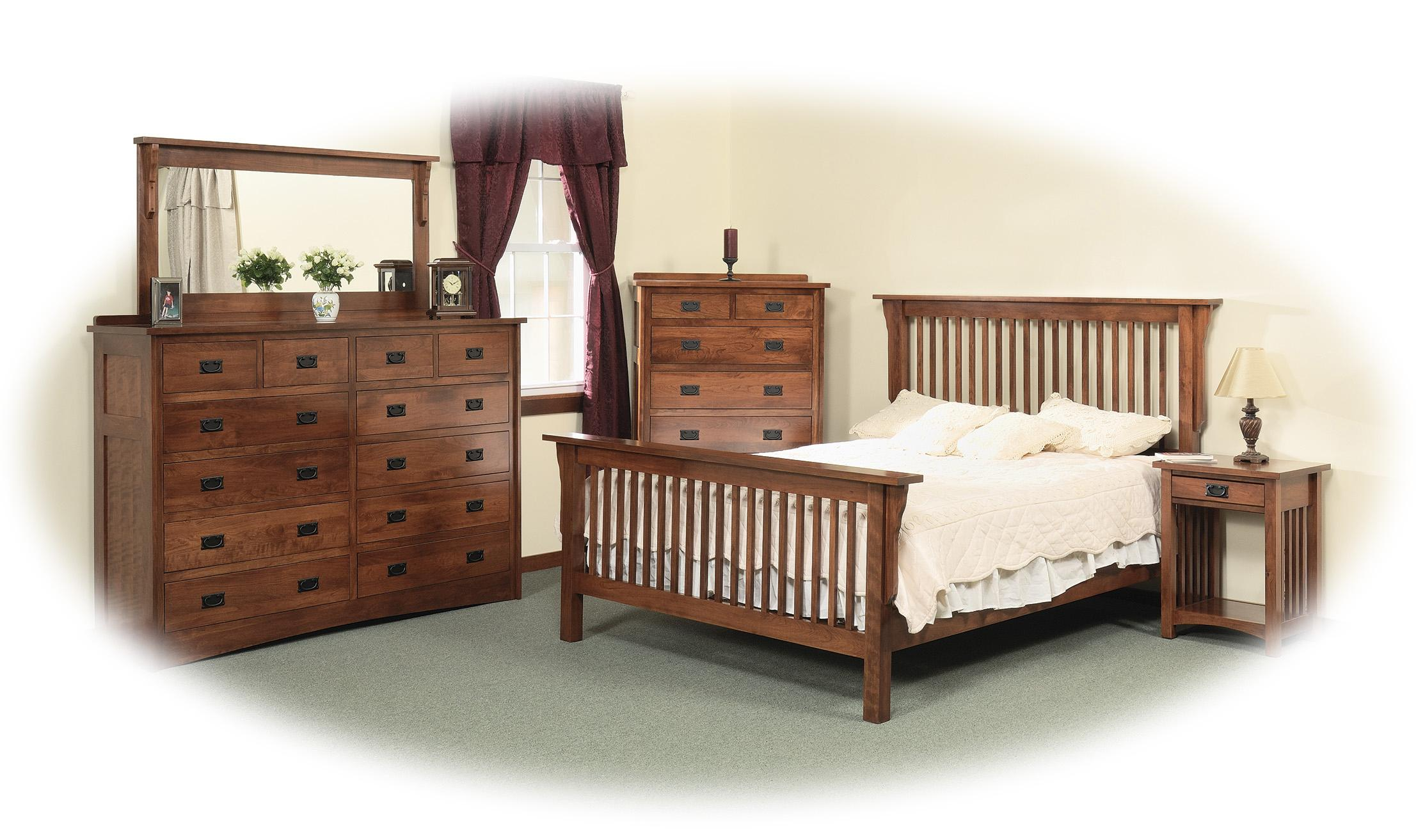 Daniels Amish Mission Drawer Solid Wood Double Dresser - Daniel's amish bedroom furniture