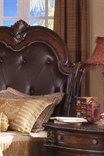Bonded Leather Headboard with Button Tufting