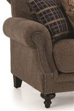 Set-Back Rolled Armrest with Nailhead Trim