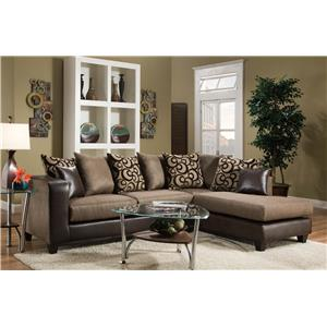 Delta Furniture Manufacturing 4124 Contemporary Sectional Sofa with Chaise End and Loose Pillow Back