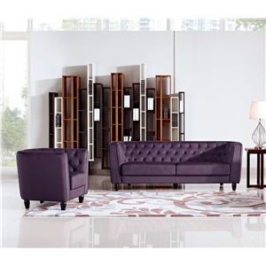 Diamond Sofa Bellini Button Tuft Fabric in Plush Purple Chair