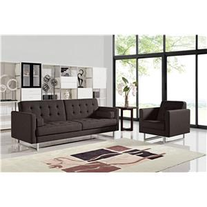 Diamond Sofa Opus Convertible Grey Tufted Polyester Fabric Sofa with Chair 2-Piece Set