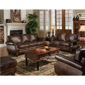 du0027oro sagle classic saddle traditional leather sofa with nail head trim - Nailhead Sofa