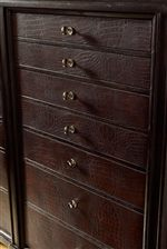 Crocodile Leather Drawers with Accent Knobs
