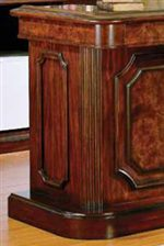Beautiful Distressed Walnut and Burl Finish Dresses Up the Front of the Bar