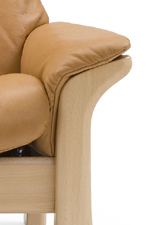 Curved Wood Arm with Pillow Top Cushion