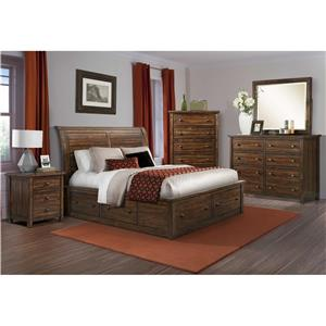 Elements International Boardwalk King Bed with Paneling