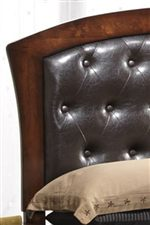 Tufted Headboard with Leather-like Upholstery