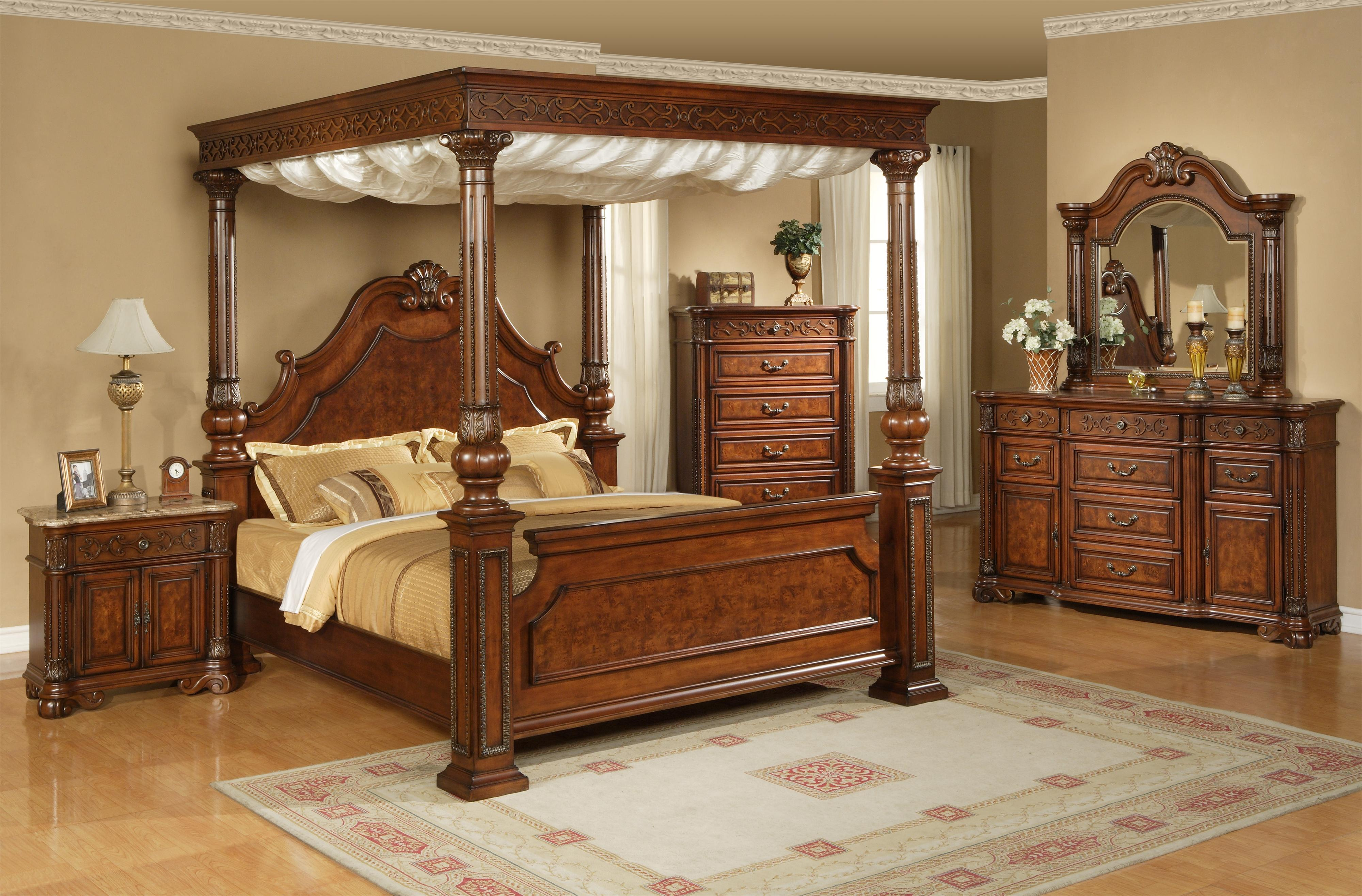 Elements International Olivia Queen Traditional Ornate Rich Brown Canopy Bed | Powellu0027s Furniture and Mattress | Canopy Bed & Elements International Olivia Queen Traditional Ornate Rich Brown ...