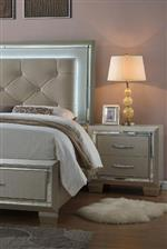 Mirror Trim and Sutle Mood Lighting on Upholstered Headboard