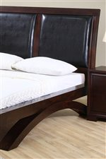 faux leather headboard platform bed
