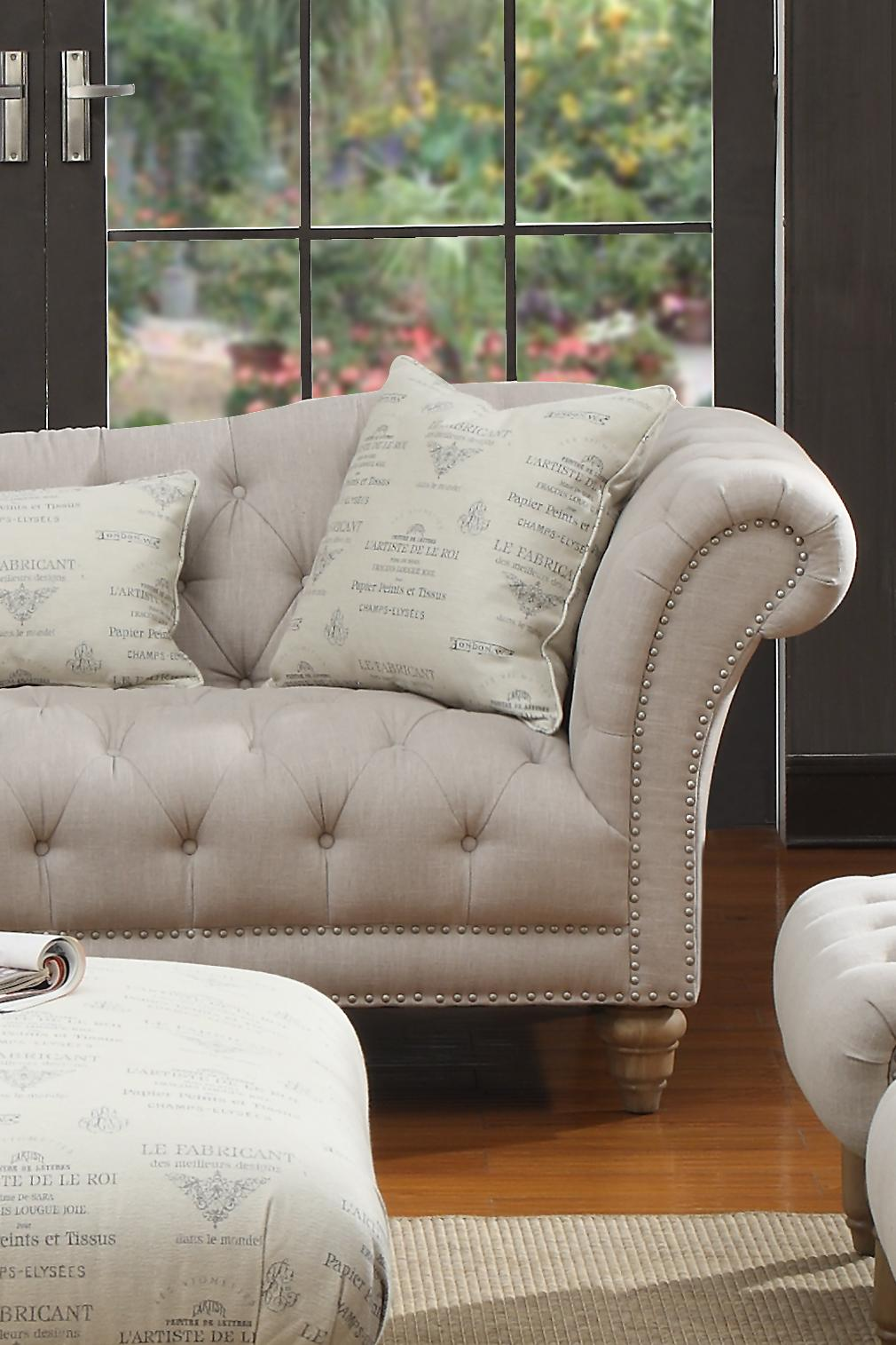 Emerald Hutton Fabric Upholstery Series Linen Look Nailhead Chaise W/ 1  Kidney Pillow | Gallery Furniture | Chaises
