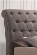 Sleigh Headboard Features Button Tufting