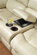 Storage Armrest With Cup Holders In Reclining Love Seat