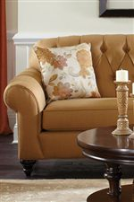 Classic Accents Like Button Tufting, Exposed Wood Feet and Welt Cords Offer Elegance but Maintain a Casual Ambiance