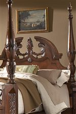 Intricate Carved Headboard with Crown Moulding