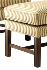 Exposed Wood Legs with Detailed Carvings add Graceful Detail and Rich Colored Accents