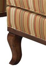 Exposed Wood Base and Cabriole Legs add Traditional Details