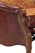 Elegantly Curved Exposed-Wood Arm with Nailhead Trim